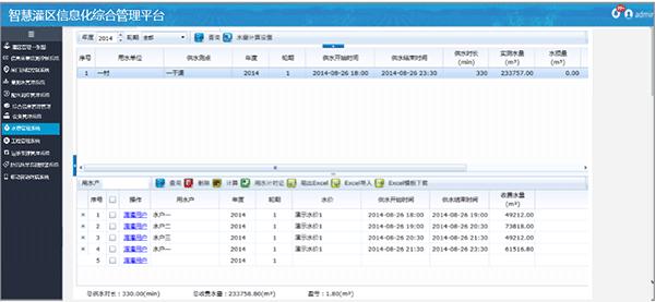 智慧灌区信息化软件系统-水费管理系统