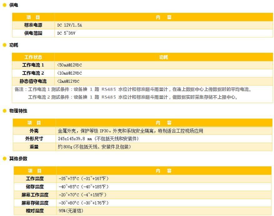 5GRTU_水利遥测终端机_5G水利RTU_5G遥测终端机参数3